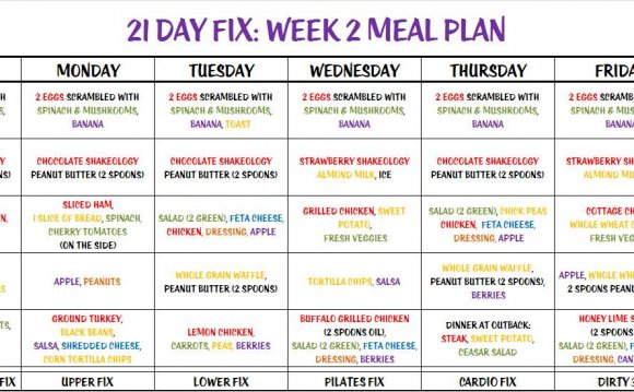 Home 1200 Calorie Diet 21 Day Fix Week 2 Meal Plan