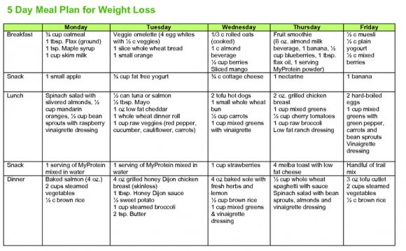 5 day diet plan chart for