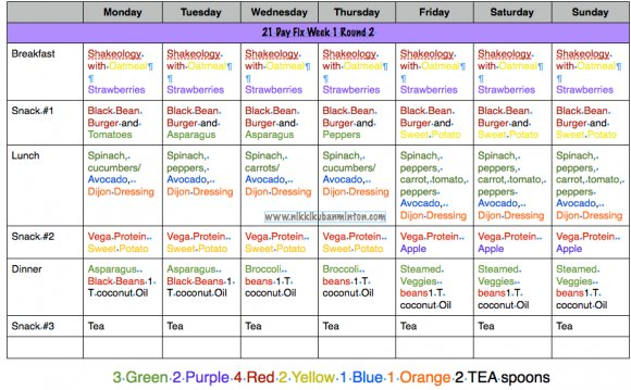 Vegan meal plan, 21 day fix