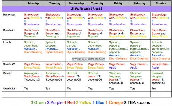 Vegan meal plan, 21 day fix
