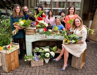 Amelia (far left) poses with other healthy food writers and restaurateurs, from left to right: Ella Woodward, Russell Bateman, Melissa Hemsley, Irene Arango, Rose Lloyd Owen, Richard Harvardi, Shelley Martin Light