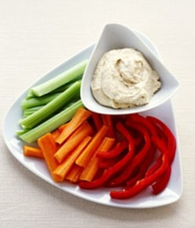 Snack on healthy nibbles such as vegetable crudites