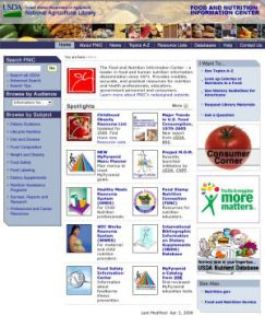 The FNIC website contains over 2500 links to current and reliable nutrition information.